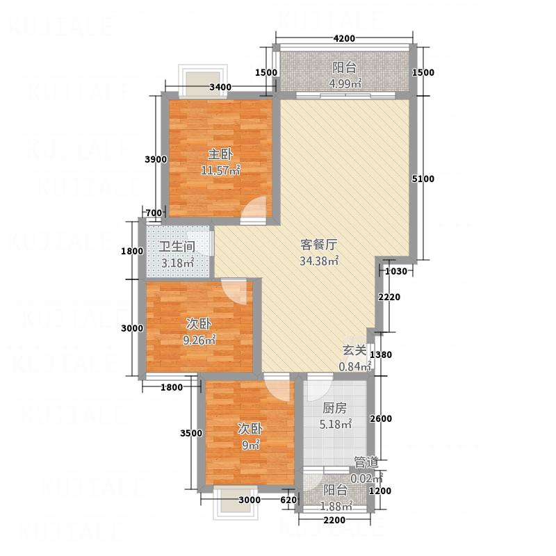 锦地上城国际社区11.00㎡锦地上城户型3室2厅1卫1厨