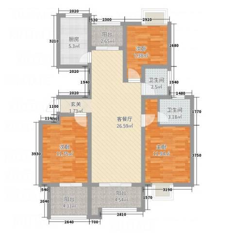 益城名流世家3室1厅2卫1厨123.00㎡户型图