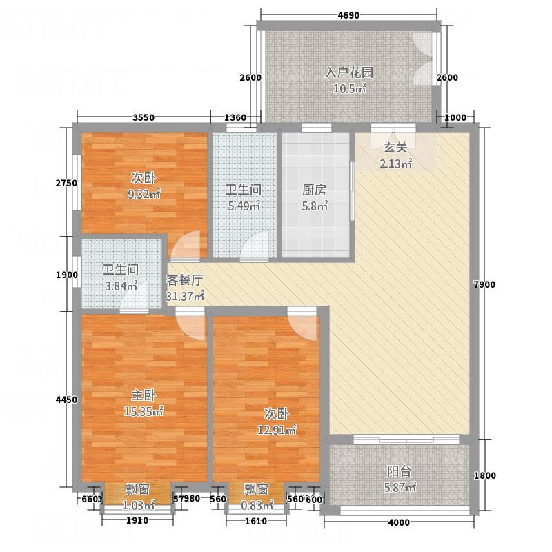 橘洲一号125.00㎡B户型3室2厅2卫1厨