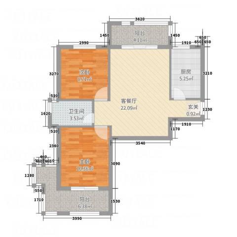 御花苑2室1厅1卫1厨87.00㎡户型图