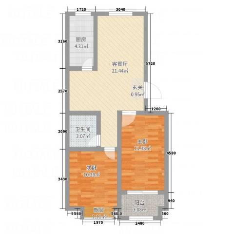 紫金园翡翠花园2室1厅1卫1厨79.00㎡户型图