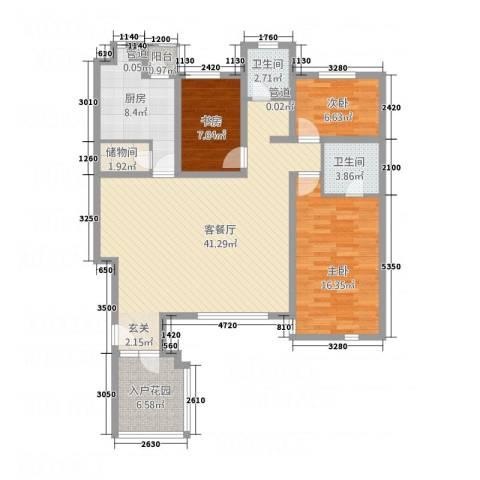 御花苑3室1厅2卫1厨96.43㎡户型图