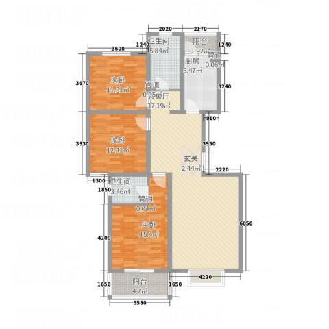 都市绿洲3室1厅2卫1厨135.00㎡户型图