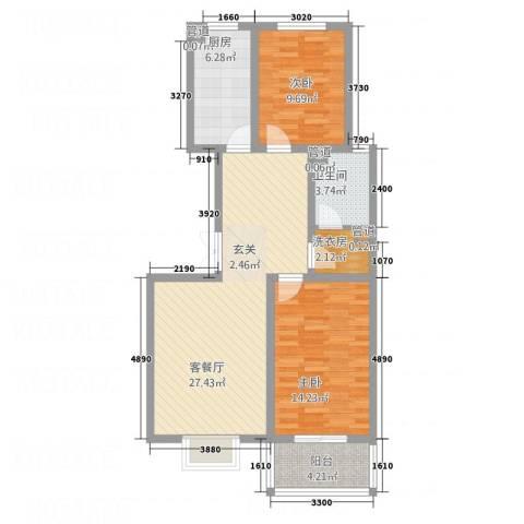 都市绿洲2室1厅1卫1厨67.94㎡户型图