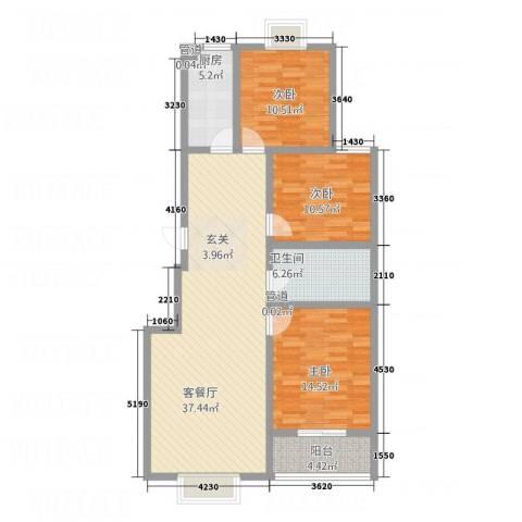 都市绿洲3室1厅1卫1厨127.00㎡户型图