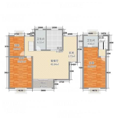 博筑正阳花园3室1厅2卫1厨184.00㎡户型图