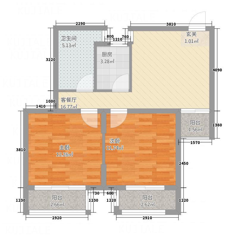 铭城花园82.00㎡户型2室2厅1卫1厨