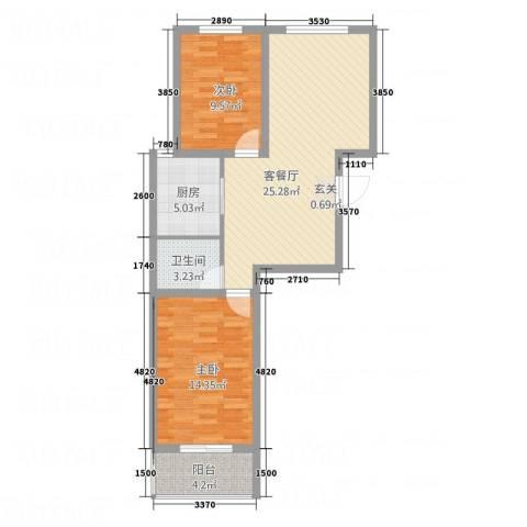 天缘新城2室1厅1卫1厨70.35㎡户型图