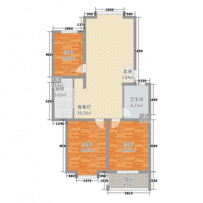 金世・现代城115.87㎡xdch2户型3室2厅1卫1厨