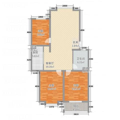 金世・现代城3室1厅1卫1厨116.00㎡户型图