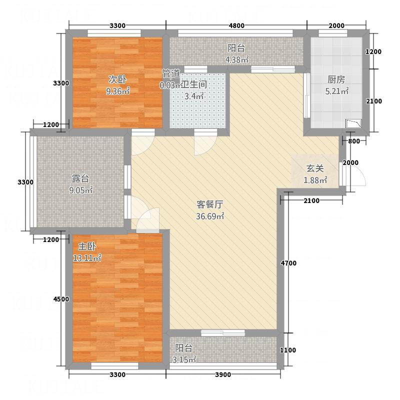 海湾壹号11.36㎡11#楼-13#楼B1户型2室2厅1卫1厨