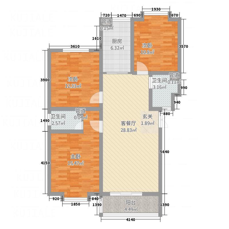 金世・现代城111.28㎡xdch3户型3室1厅2卫1厨