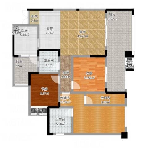 人和华夏城2室1厅2卫1厨158.00㎡户型图