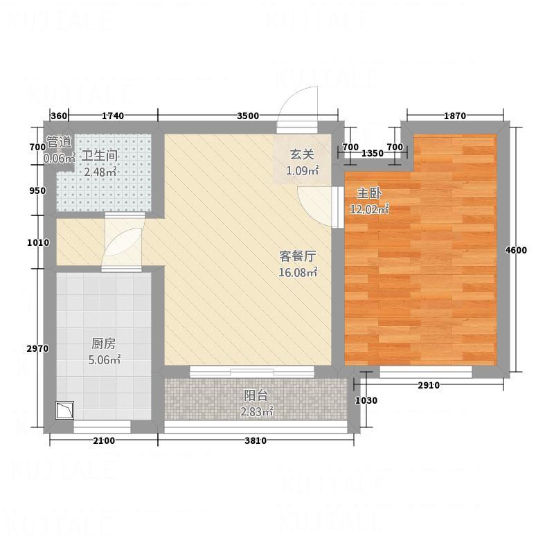 海湾壹号52.63㎡11#楼-13#楼B3户型1室2厅1卫1厨