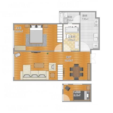 东方新天地2室1厅1卫1厨82.00㎡户型图
