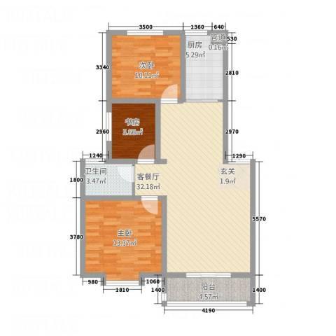 金世・现代城3室1厅1卫1厨74.81㎡户型图