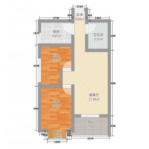 华韵新天地2室1厅1卫1厨65.00㎡户型图