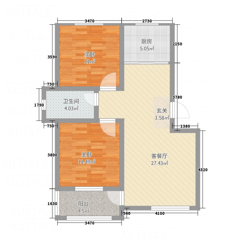 盛世康城5.82㎡5号楼G西户型2室2厅1卫1厨