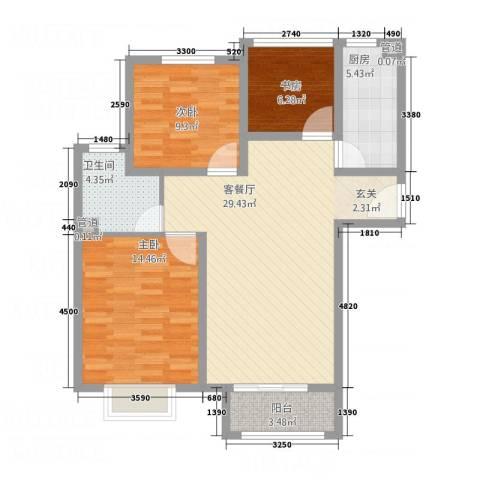 泰古・香槟郡3室1厅1卫1厨72.93㎡户型图