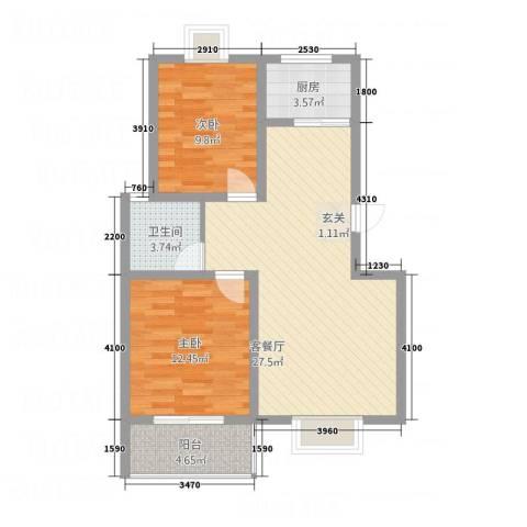 东方华城2室1厅1卫1厨70.88㎡户型图