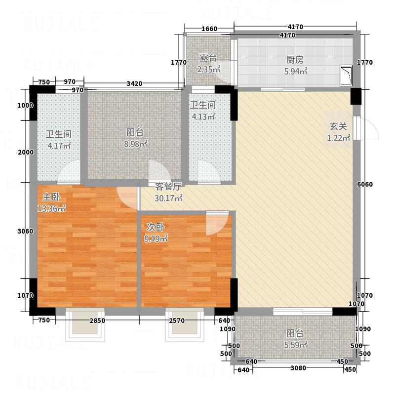 御景湾1.45㎡01单位标准层户型2室2厅