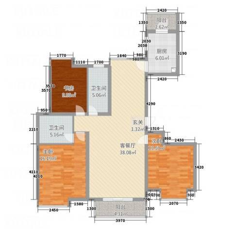 锦绣花园3室1厅2卫1厨143.00㎡户型图