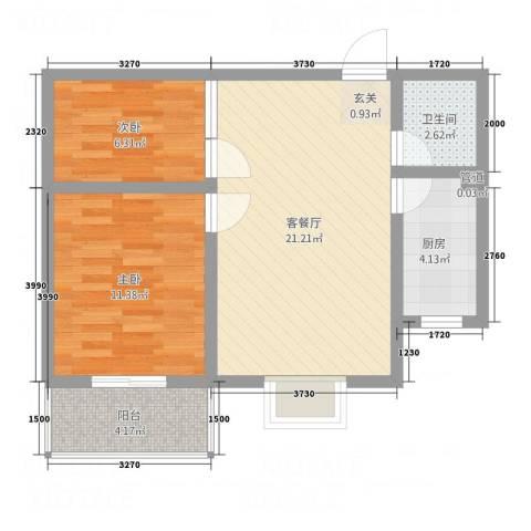 祥和家园2室1厅1卫1厨72.00㎡户型图
