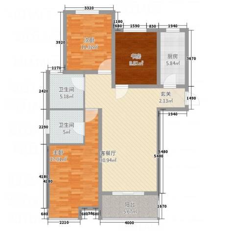 锦绣花园3室1厅2卫1厨129.00㎡户型图