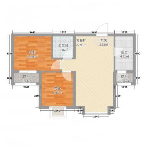 泰古・香槟郡2室1厅1卫1厨66.00㎡户型图