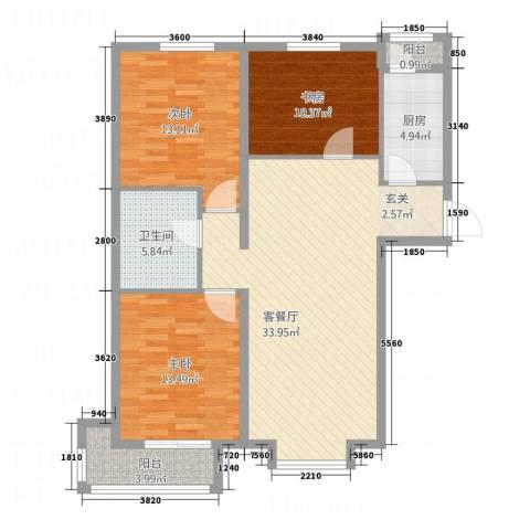 泰古・香槟郡3室1厅1卫1厨86.67㎡户型图