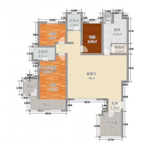 御花苑3室1厅2卫1厨164.00㎡户型图