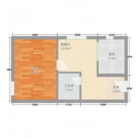 中天・紫金城1室1厅1卫1厨57.00㎡户型图