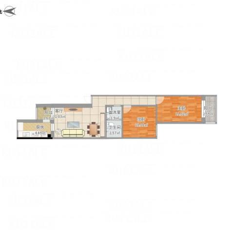 安翔里2室2厅1卫1厨80.00㎡户型图