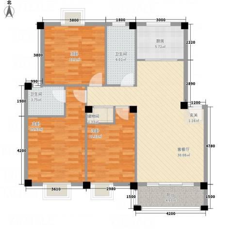 锦昌苑3室1厅2卫1厨92.20㎡户型图