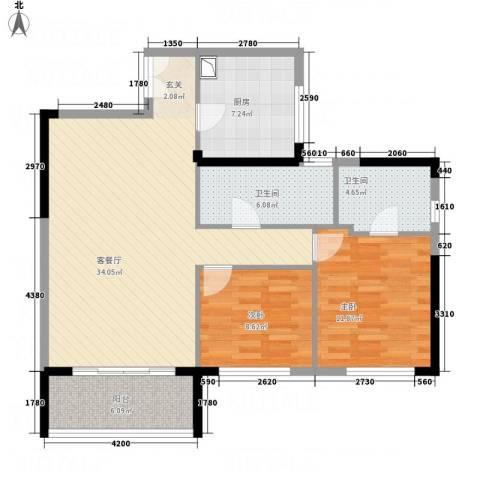 锦昌苑2室1厅2卫1厨78.60㎡户型图