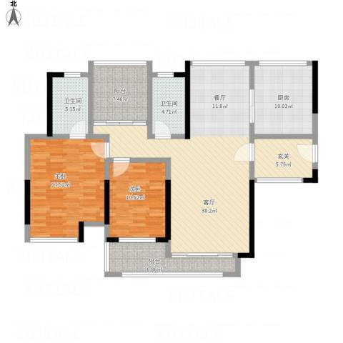 中海万锦东苑2室1厅2卫1厨154.00㎡户型图