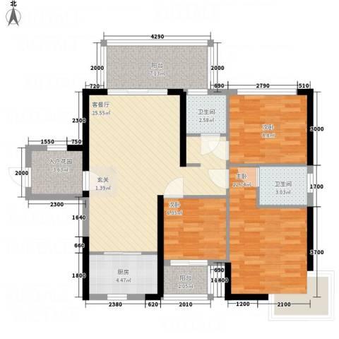 惠民怡家3室1厅2卫1厨110.00㎡户型图