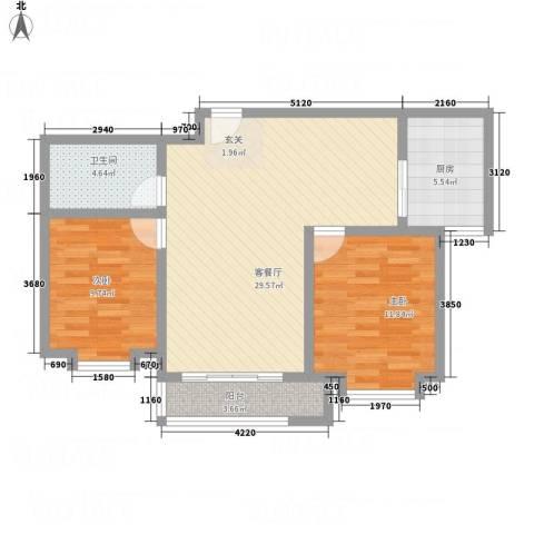 世贸广场2室1厅1卫1厨64.98㎡户型图