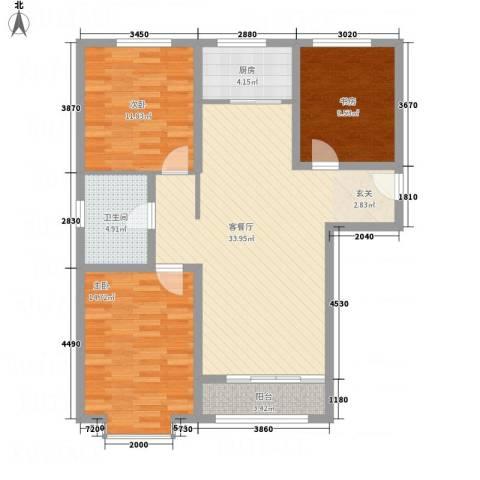 世贸广场3室1厅1卫1厨115.00㎡户型图