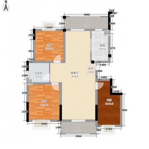 紫金名苑3室1厅1卫1厨116.00㎡户型图