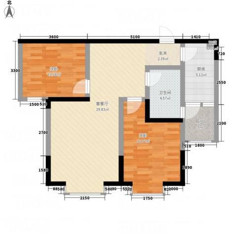 凯信水韵滨江二期公园大帝2室1厅1卫1厨86.00㎡户型图