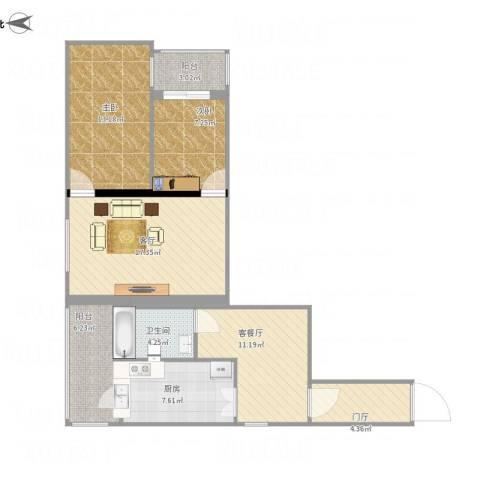 金顶街三区2室2厅1卫1厨104.00㎡户型图