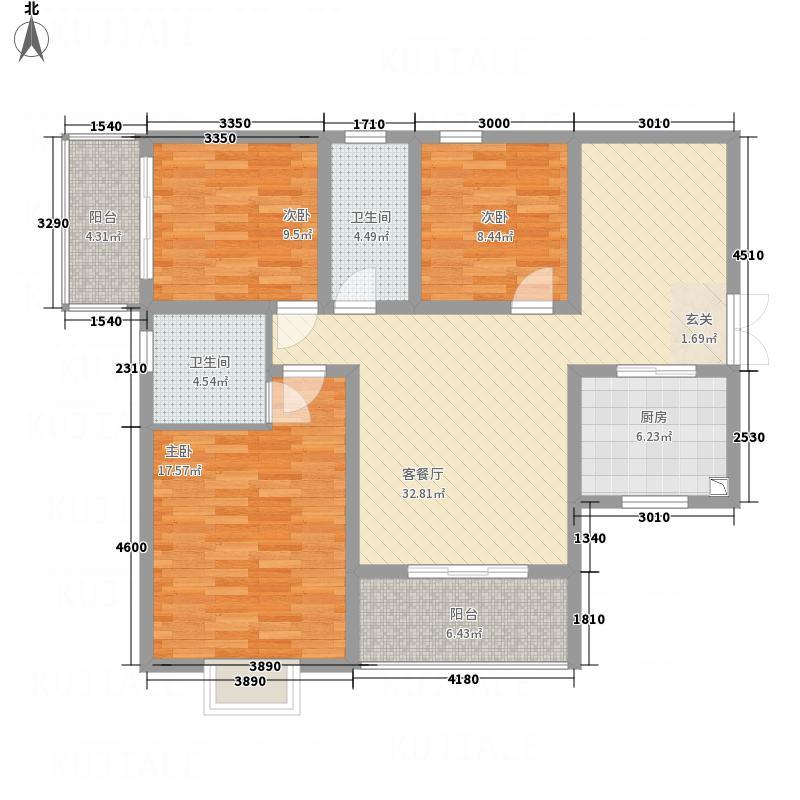 北城星府113.80㎡2栋B6户型3室2厅2卫