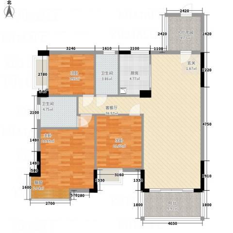 凯旋美域3室1厅2卫1厨134.00㎡户型图