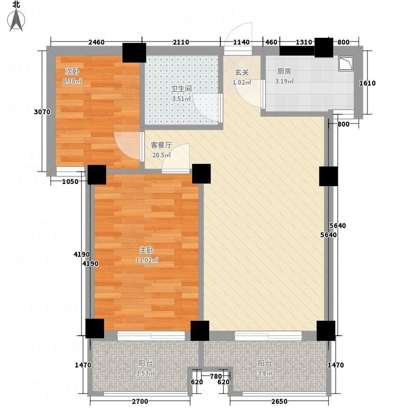 香榭景园67.20㎡(6)户型2室2厅1卫2厨