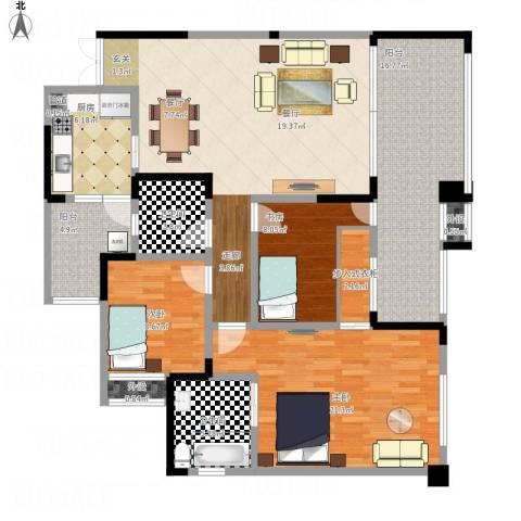 人和华夏城3室1厅2卫1厨158.00㎡户型图