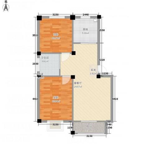 华纺・海岸城2室1厅1卫1厨84.00㎡户型图