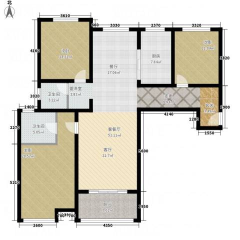 鼓楼上城3室1厅2卫1厨136.00㎡户型图