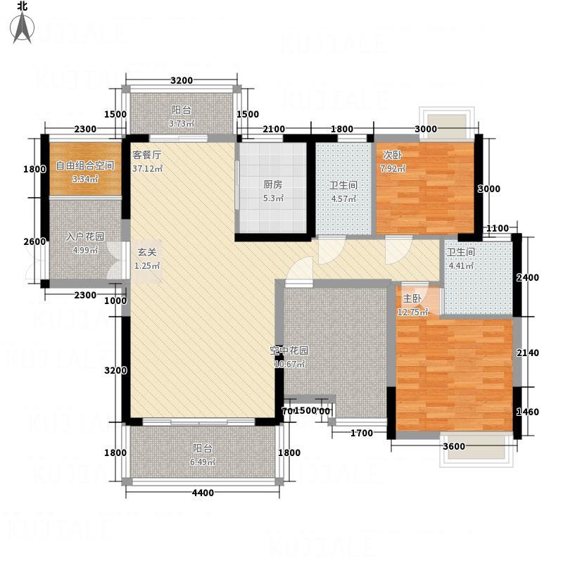 东方威尼斯122.73㎡9栋A1+空中花园户型2室2厅2卫1厨