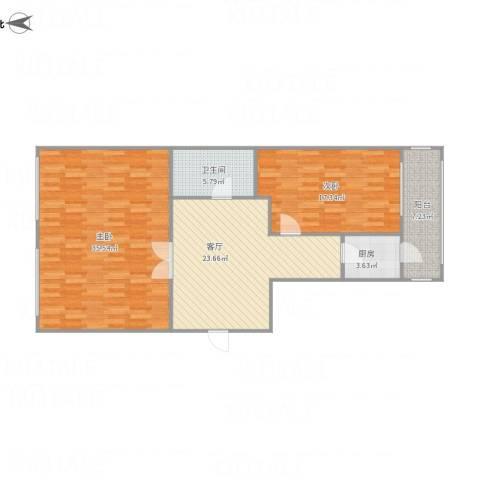 司法警官宿舍2室1厅1卫1厨124.00㎡户型图